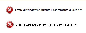errore windows 2-3 durante caricamento java vm