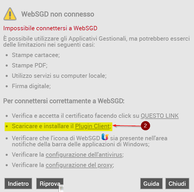 Impossibile connettesi a WebSGD