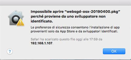 Impossibile aprire websgd-osx perché proviene da uno sviluppatore non identificato